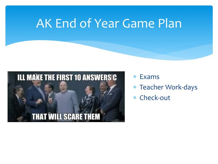 AK End of Year Game Plan