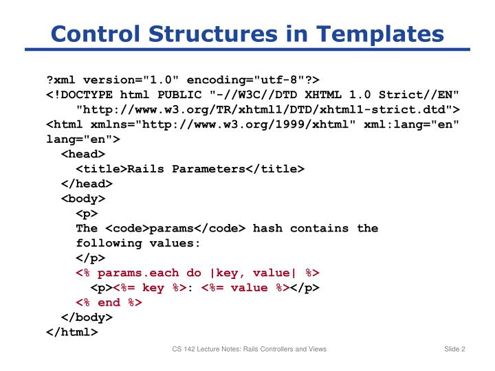 Control Structures in Templates