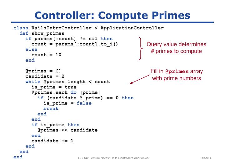 Controller: Compute Primes