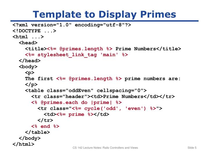 Template to Display Primes