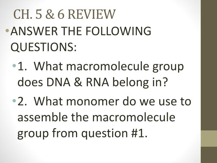 CH. 5 & 6 REVIEW