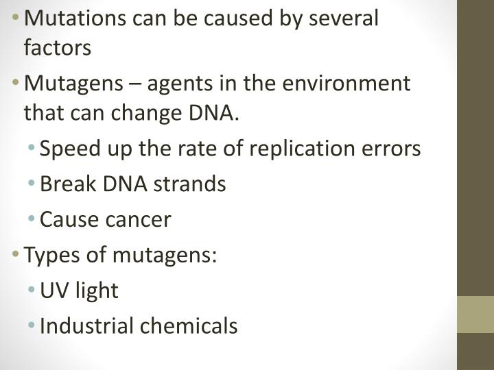 Mutations can be caused by several factors