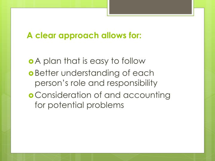 A clear approach allows for: