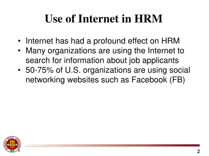 Use of Internet in HRM