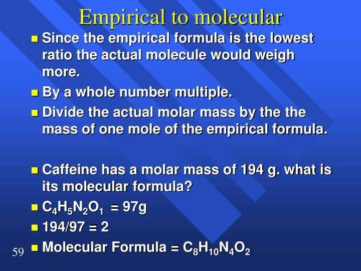 Empirical to molecular