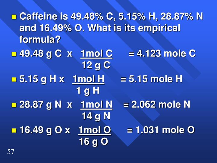 Caffeine is 49.48% C, 5.15% H, 28.87% N and 16.49% O. What is its empirical formula?