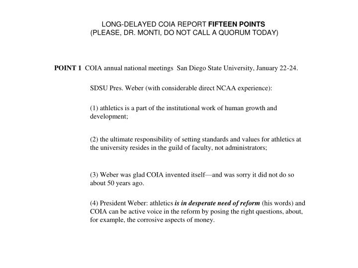 LONG-DELAYED COIA REPORT