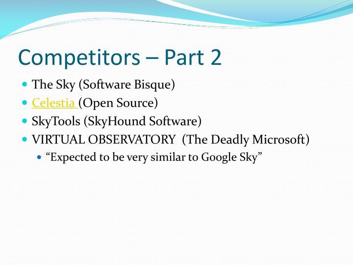 Competitors – Part 2