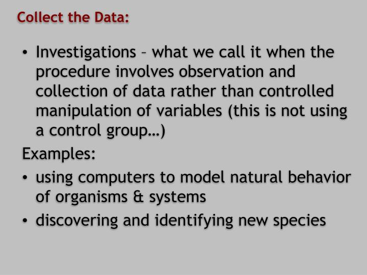 Collect the Data: