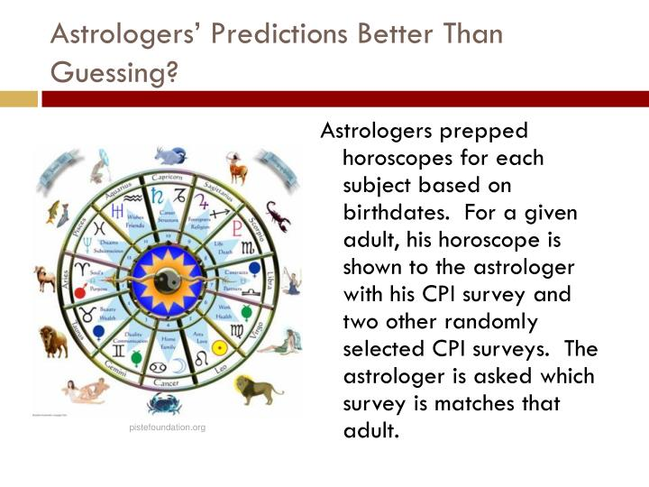 Astrologers' Predictions Better Than Guessing?