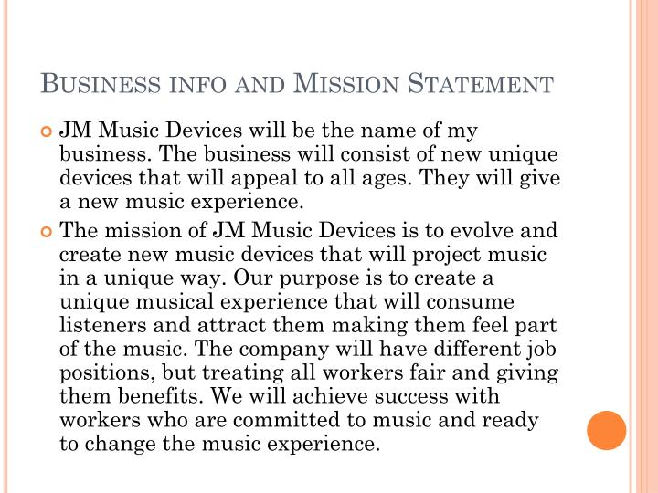 Business info and Mission Statement