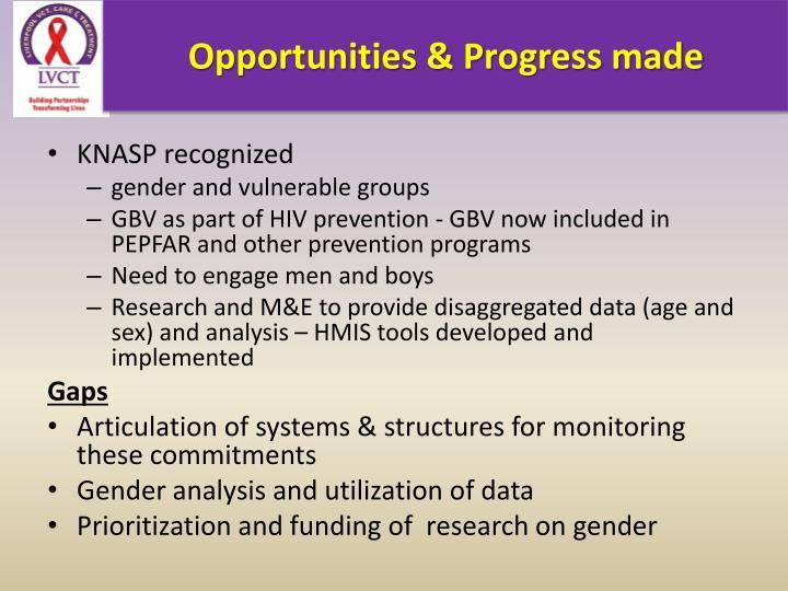 Opportunities & Progress made