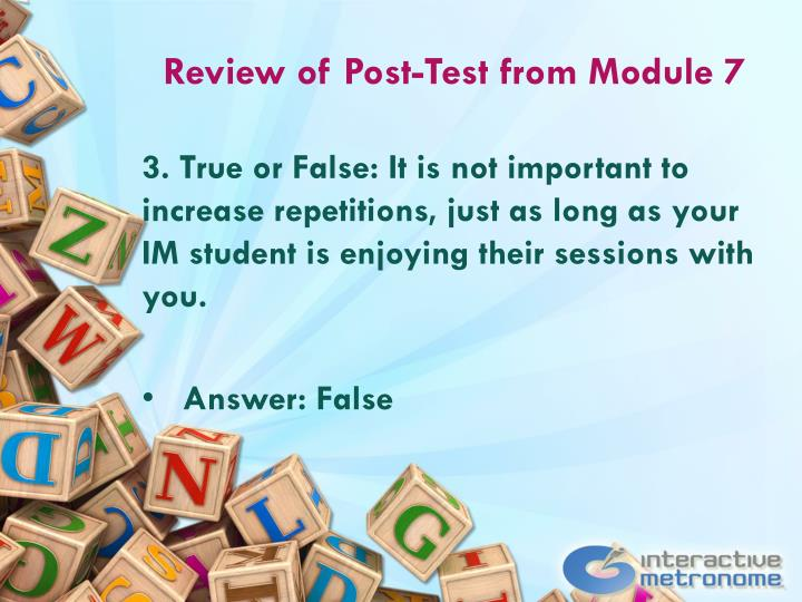 Review of Post-Test from