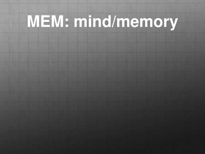 MEM: mind/memory