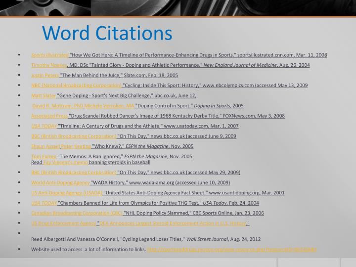Word Citations
