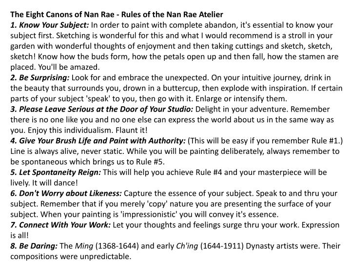 The Eight Canons of Nan Rae - Rules of the Nan Rae Atelier