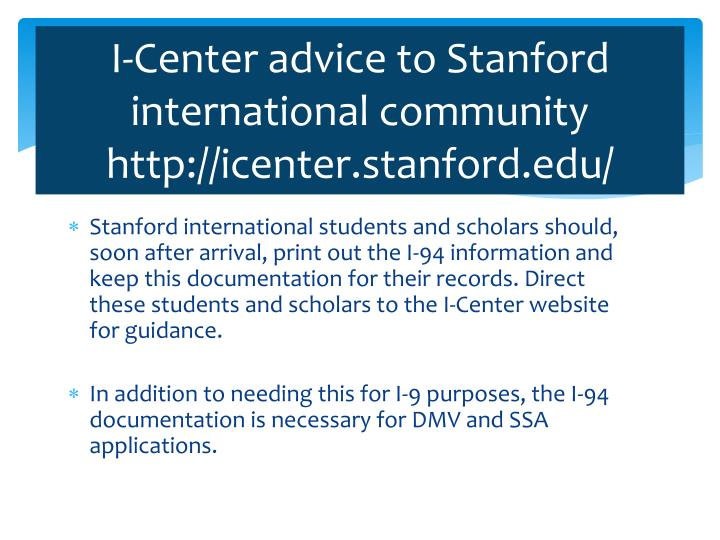 I-Center advice to Stanford