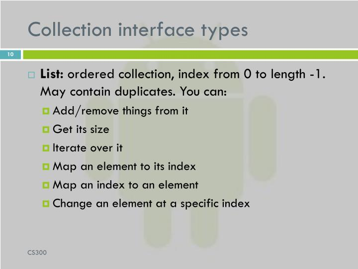Collection interface types