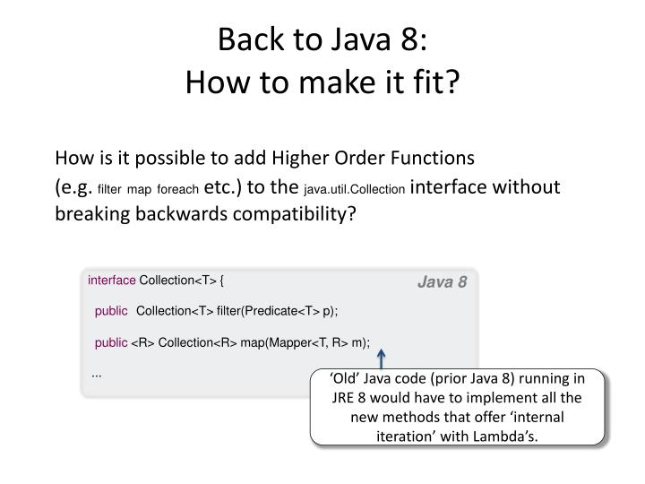 Back to Java 8: