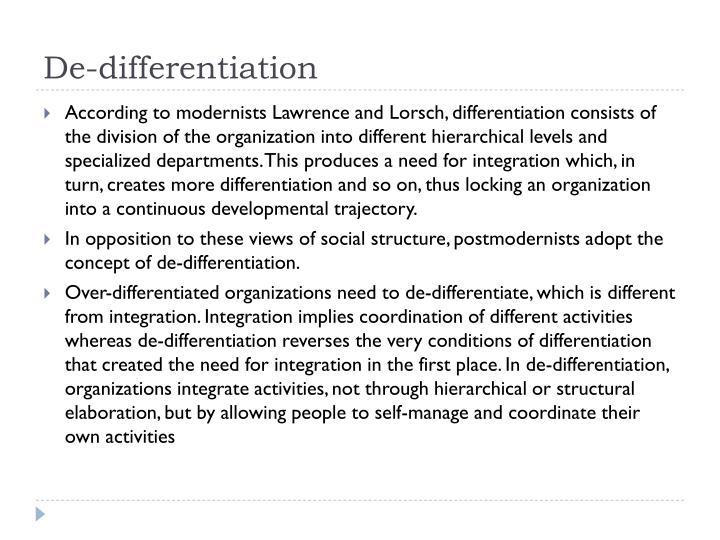 De-differentiation