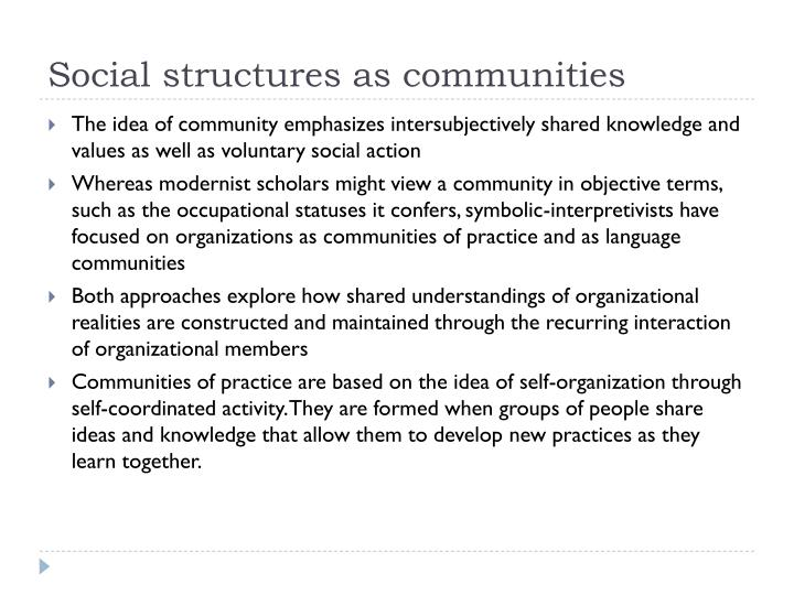 Social structures as communities