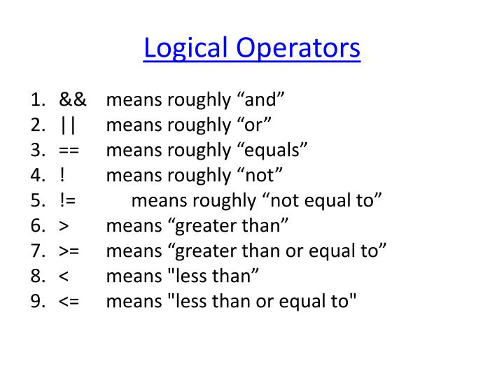 Logical Operators