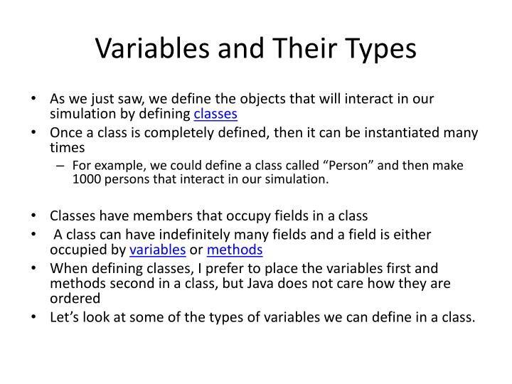 Variables and Their Types