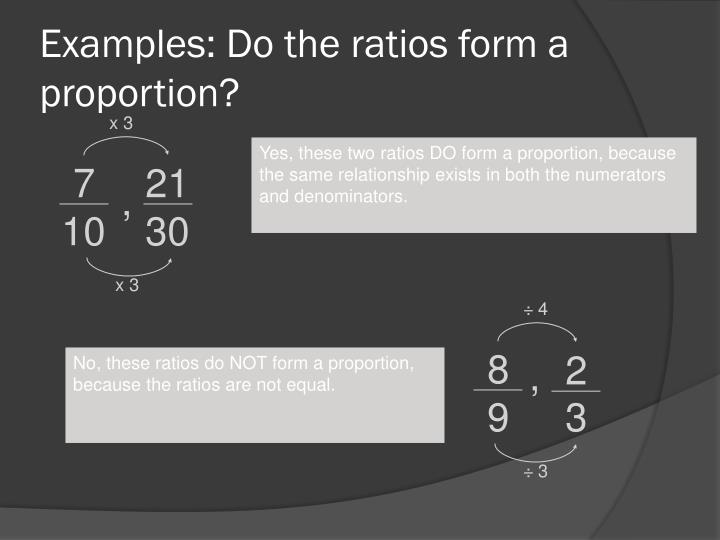 Examples: Do the ratios form a proportion?