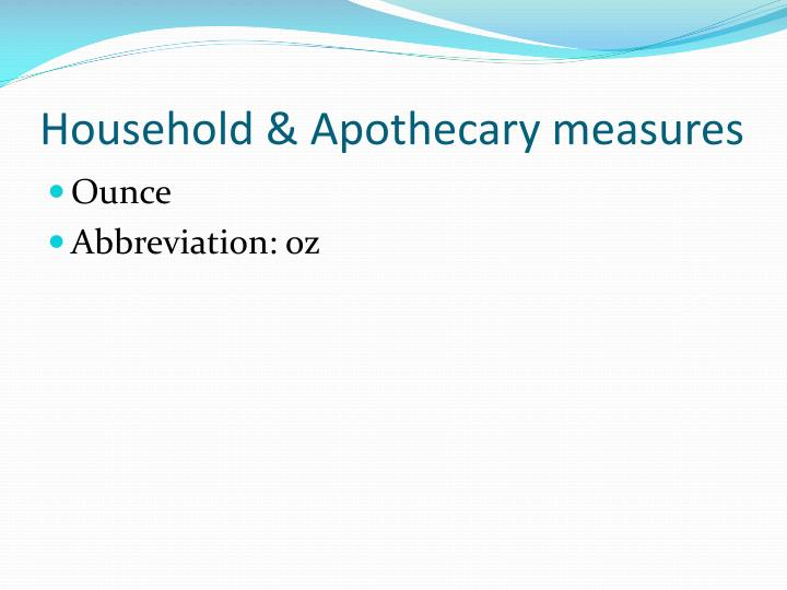 Household & Apothecary measures