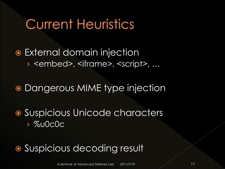 Current Heuristics