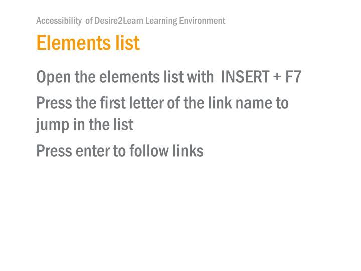 Elements list