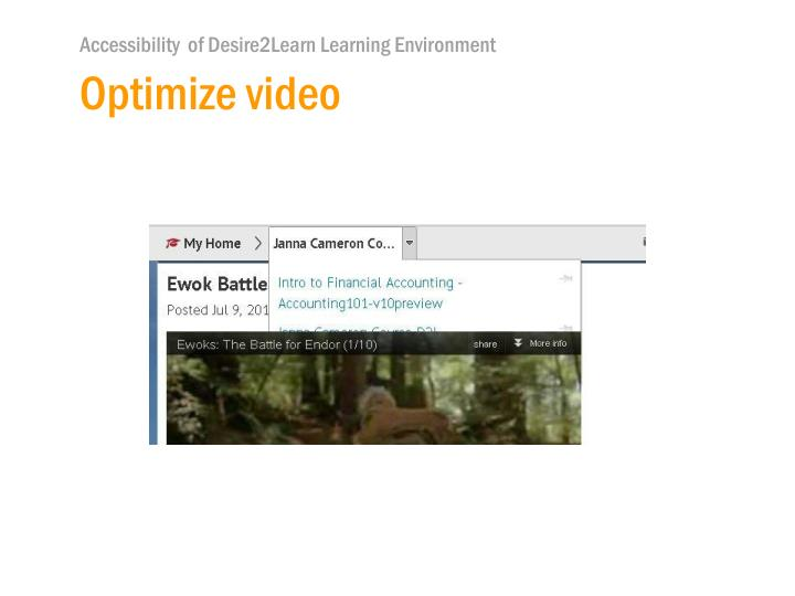 Optimize video