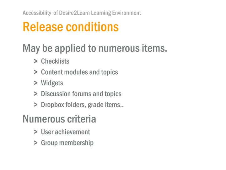Release conditions