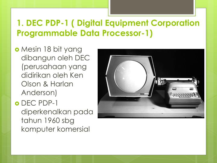 1. DEC PDP-1 ( Digital Equipment Corporation Programmable Data Processor-1)