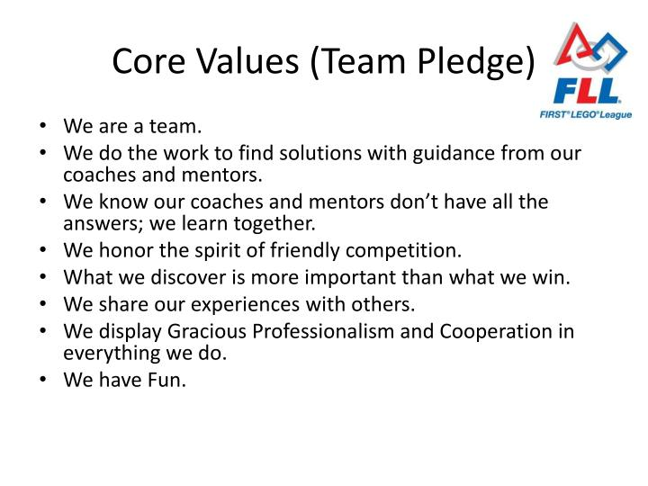 Core values team pledge