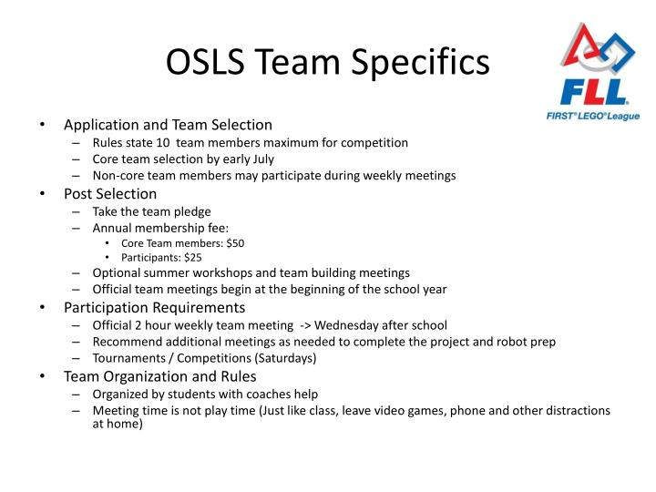OSLS Team Specifics