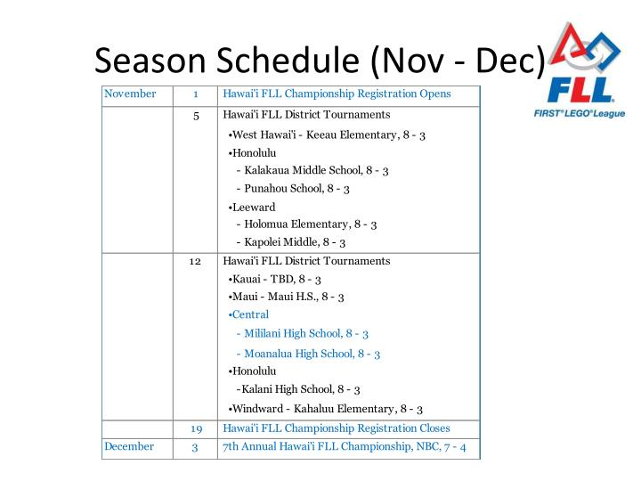 Season Schedule (Nov - Dec)
