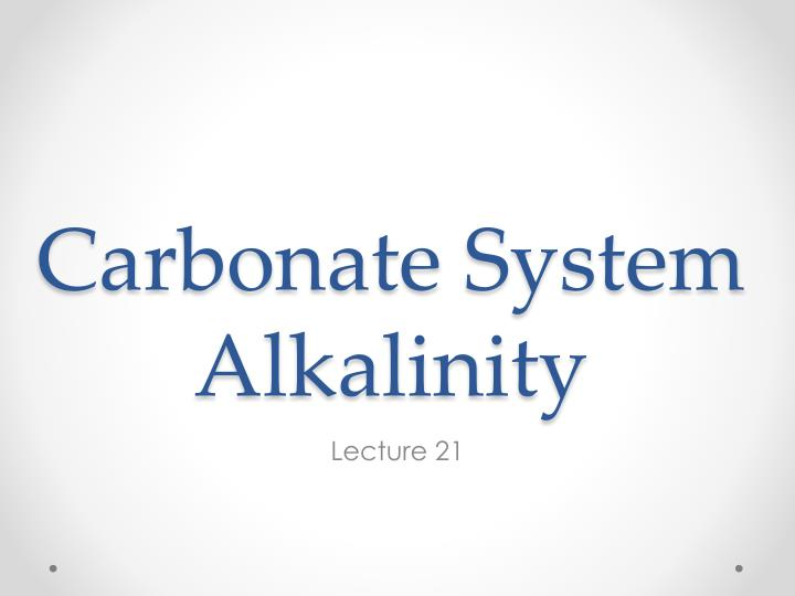 Carbonate system alkalinity