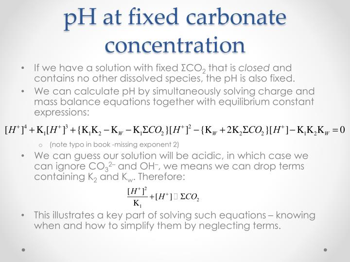 pH at fixed carbonate concentration