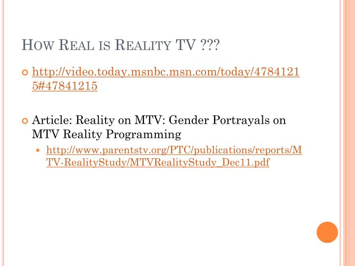 How Real is Reality TV ???