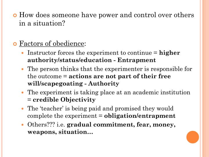 How does someone have power and control over others in a situation?