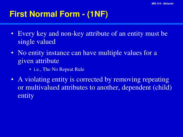 First Normal Form - (1NF)