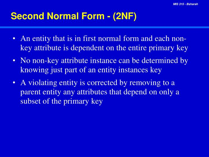 Second Normal Form - (2NF)