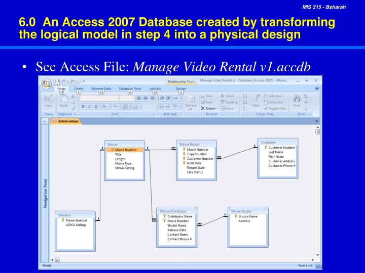 6.0  An Access 2007 Database created by transforming the logical model in step 4 into a physical design