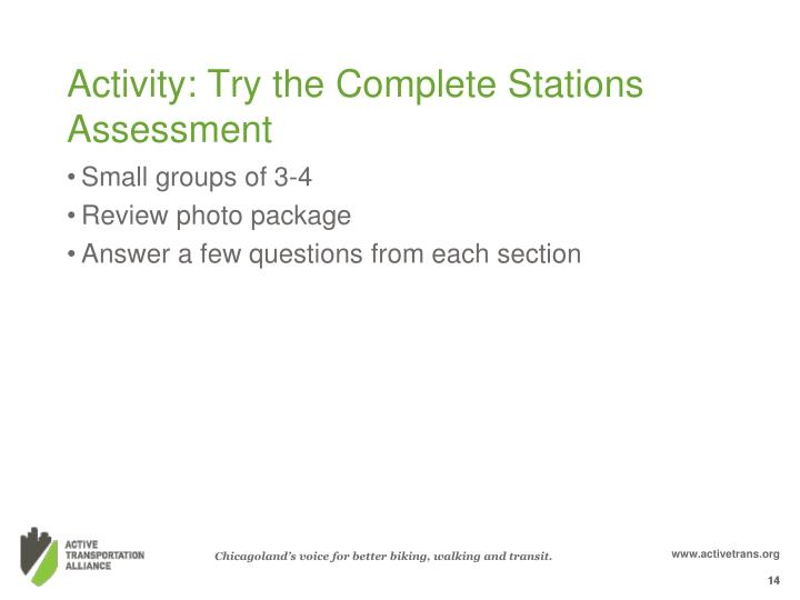 Activity: Try the Complete Stations Assessment