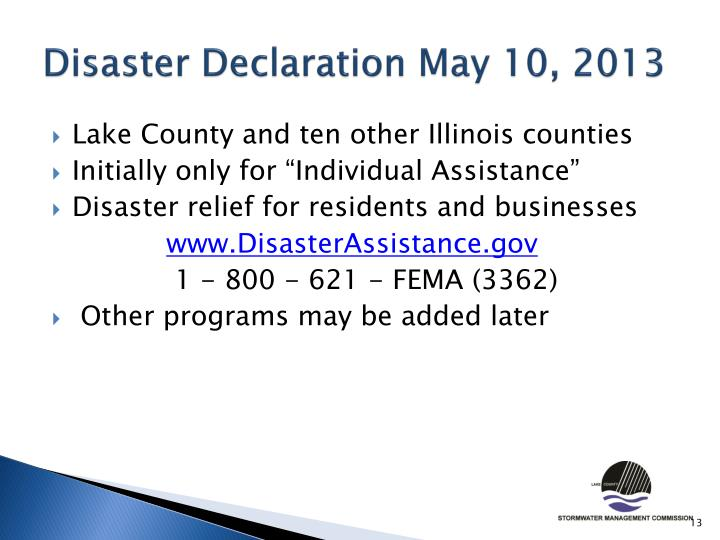 Disaster Declaration May 10, 2013