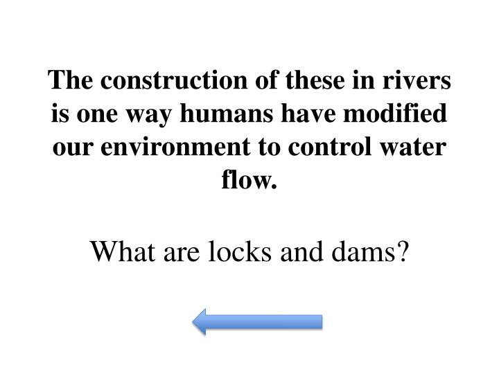 The construction of these in rivers is one way humans have modified our environment to control water flow.