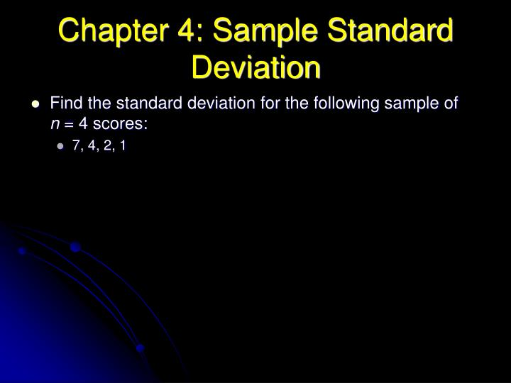 Chapter 4: Sample Standard Deviation