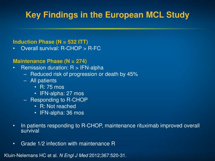 Key Findings in the European MCL Study