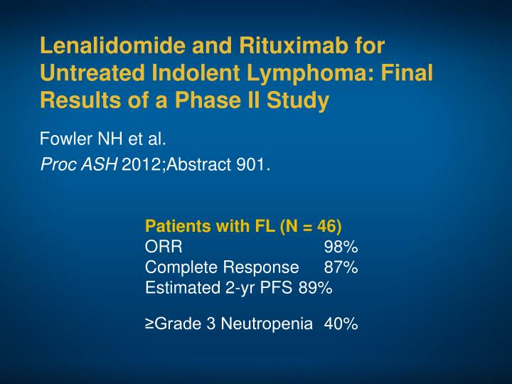 Lenalidomide and Rituximab for Untreated Indolent Lymphoma: Final Results of a Phase II Study